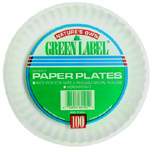 "6"" WHITE PAPER PLATES GREEN LABEL"