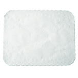 "TRAYCOVER-14""X19""-WHITE SCALLOPED EDGE-EMBO"