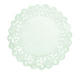 RND LACE DOILY 6IN EMBSSD WHI BOND 2000
