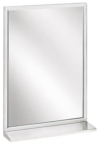BRADLEY ANGLE FRAME MIRROR WITH SHELF 18 IN. X 36 IN. STAINLESS