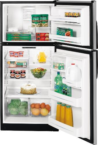 GE CLEANSTEEL REFRIGERATOR TOP FREEZER 18.0 CU. FT.