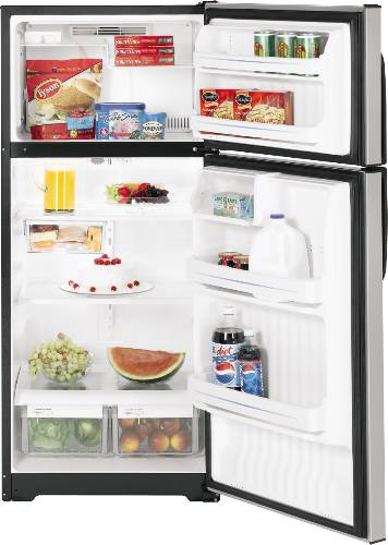GE CLEANSTEEL REFRIGERATOR TOP FREEZER 16.6 CU. FT.