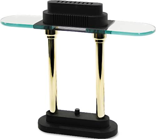 HALOGEN DESK LAMP, BLACK/BRASS BASE, GLASS SHADE, 15 INCHES HIGH