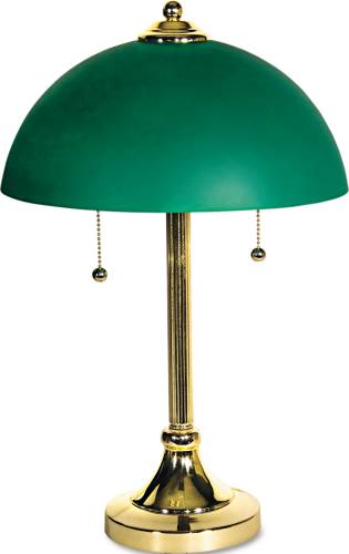 TAYLOR INCANDESCENT DESK LAMP, BRASS-PLATED BASE, GREEN GLASS SH