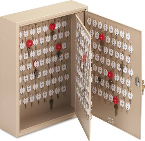 "LOCKING TWO-TAG CABINET, 240-KEY, WELDED STEEL, SAND, 16 1/2"" X"