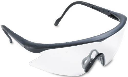 3M NASSAU VIBRANCE WRAPAROUND SAFETY GLASSES, BLACK PLASTIC FRAM