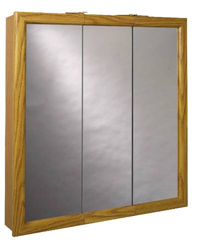 OAK MDF TRIVIEW MEDICINE CABINET 24 IN.