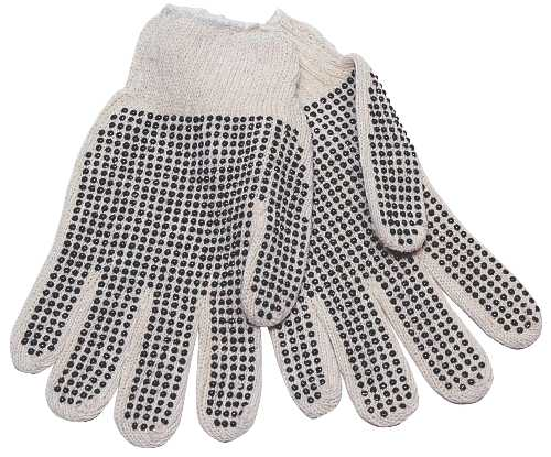 ECOM COTTON KNIT GLV,PVC DOTS MEN