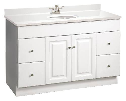 WYNDHAM VANITY, 2 DOORS, 4 DRAWERS, 48 IN. W X 31-1/2 IN. H X 21