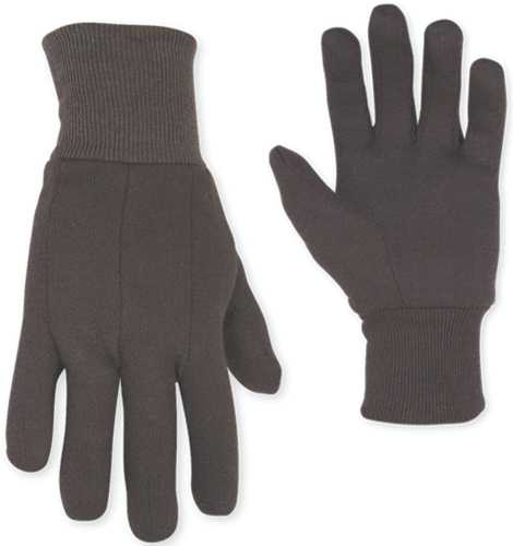 BROWN COTTON JERSEY GLOVES 12 PAIR