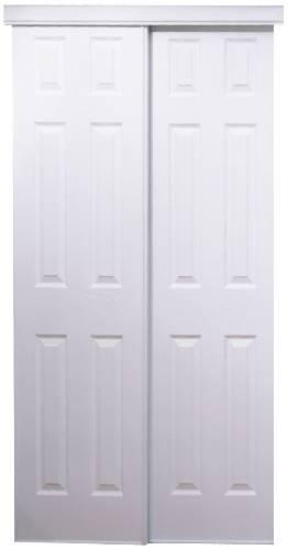 106 SERIES BYPASS DOOR 48 IN. X 80 IN. WHITE 6 PANEL