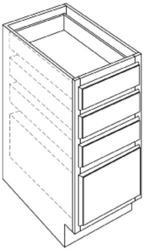 KITCHEN BASE CABINETS FOUR DRAWER, 24 IN. H. X 34-1/2 IN. D X 12