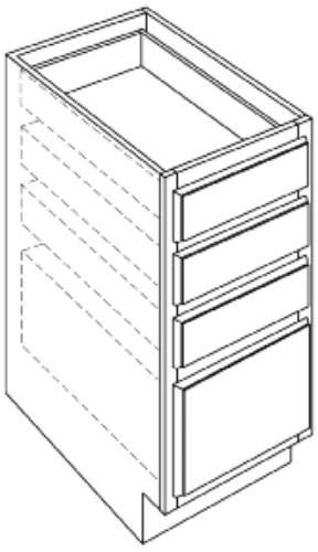 KITCHEN BASE CABINETS FOUR DRAWER, 24 IN. H. X 34-1/2 IN. D X 15