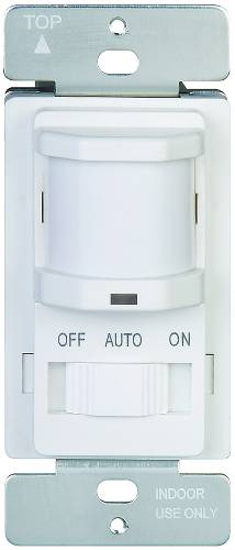 MOTION SENSOR 120V 500W LIGHTS OFF & AUTO & ON SLIDE WHITE