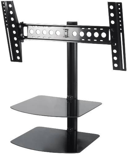 FLAT PANEL TV MOUNT TILT AND TURN WITH DOUBLE AV SHELF FOR UP TO