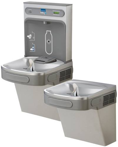 ELKAY WATER COOLER BOTTLE FILLING STATION, BI-LEVEL, LT GRAY, RE