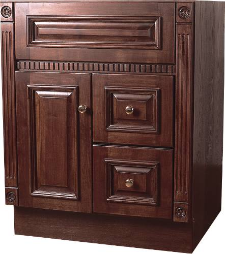 BATHROOM VANITY 1 DOOR, 2 DRAWERS, SOLID OAK CHERRY, 24 IN. W X