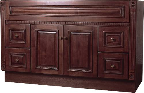 BATHROOM VANITY 2 DOORS, 4 DRAWERS, SOLID OAK CHERRY, 48 IN. W X