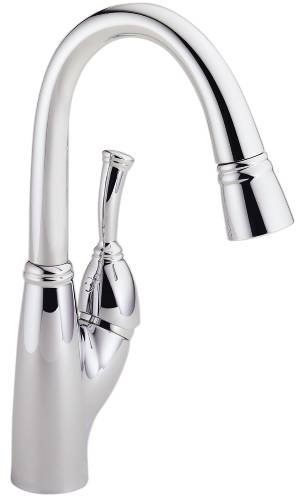 DELTA ALLORA SINGLE HANDLE PULL-DOWN BAR/PREP FAUCET, CHROME