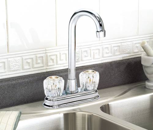BAYVIEW BAR FAUCET TWO ACRYLIC HANDLE CHROME