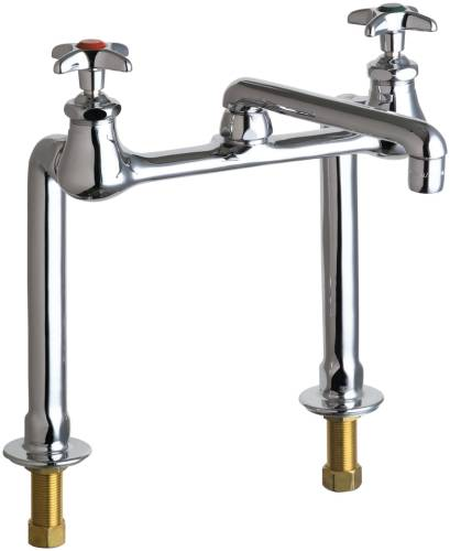HOT AND COLD WATER INLET FAUCET, 6 IN. SWING SPOUT, 2-1/2 IN. CR