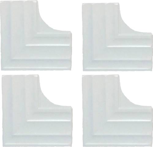 MIRROR CONTEMPORARY CORNER PLATES, WHITE, 4 PACK