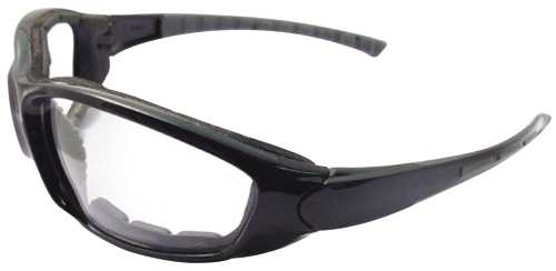 AMMO SAFETY GLASSES, BLACK FRAME, CLEAR ANTI-FOG LENS WITH FOAM