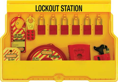 MASTER LOCK LOCKOUT STATION FOR VALVE LOCKOUTS WITH ALUMINUM PAD