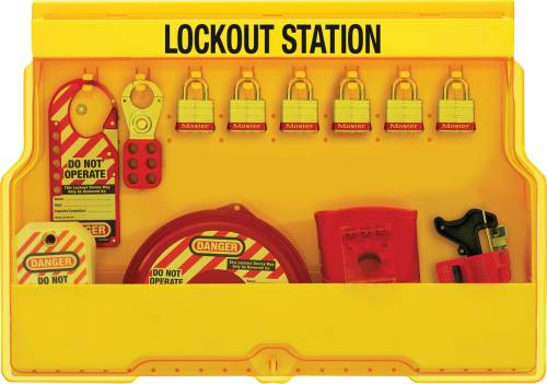 MASTER LOCK LOCKOUT STATION FOR VALVE LOCKOUTS WITH STEEL PADLOC