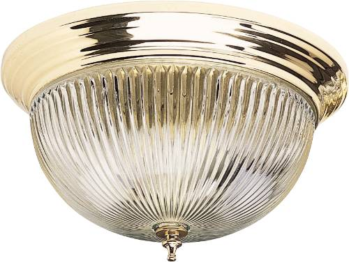 CEILING FIXTURE, CLEAR FLUTED LENS, TIERED BRASS BASE 2/TT13