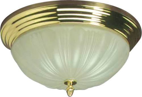 CEILING FIXTURE, FROSTED LENS, TIERED BRASS BASE 2/TT13