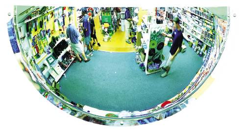 HALF DOME WALL MOUNTED SECURITY MIRROR, 12 IN. X 24 IN.