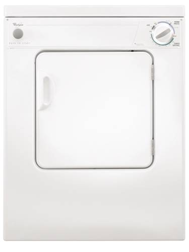 WHIRLPOOL COMPACT ELECTRIC DRYER 3.4 CU.FT. WHITE
