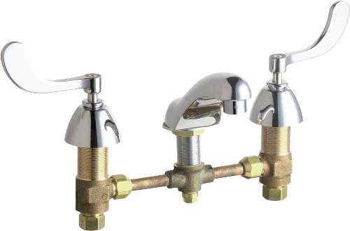 CHICAGO LAVATORY FAUCET 2-HANDLE LEAD FREE CHROME