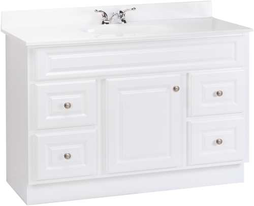 FULLY ASSEMBLED WHITE VANITY WITH DRAWERS, 48 IN.