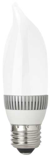 TCP DIMMABLE 3 WATT LED MEDIUM BASE FLAME TIP LAMP, 3000K COLOR