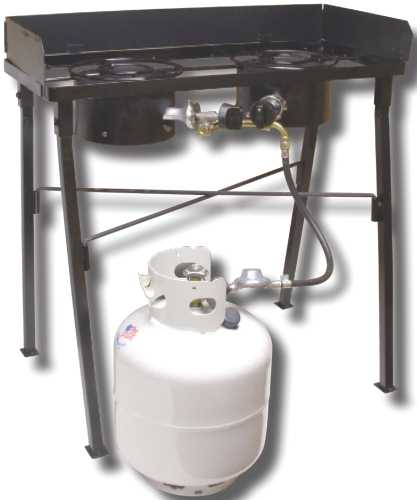 DOUBLE BURNER LOW PRESSURE PROPANE CAMP STOVE