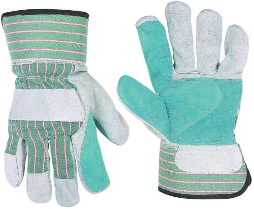 DOUBLE LEATHER PALM SAFETY CUFF WORK GLOVES ONE-SIZE