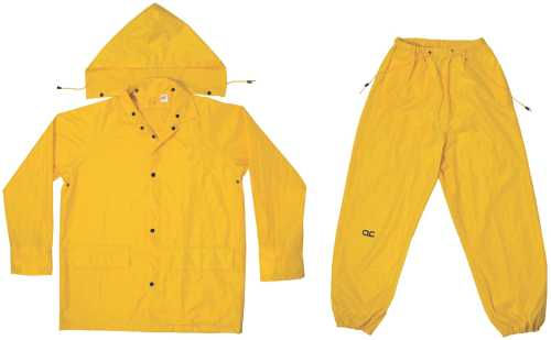 3-PIECE MEDIUM-WEIGHT YELLOW POLYESTER RAIN SUIT 2X-LARGE