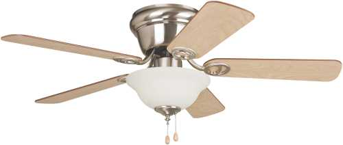 WYMAN 42 IN. HUGGER MOUNT CEILING FAN WITH BOWL LIGHT, BRUSHED N