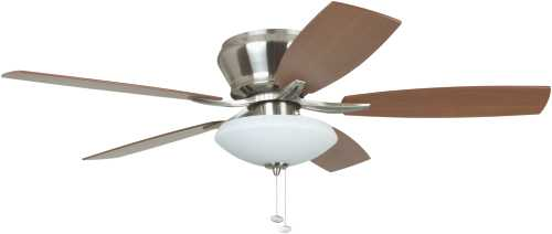 BREEZA 52 IN. HUGGER MOUNT CEILING FAN WITH BOWL LIGHT, BRUSHED