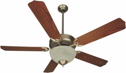 52 IN. DUAL MOUNT CEILING FAN, BRUSHED NICKEL WITH ALABASTER BOW