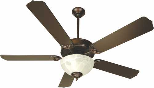 52 IN. DUAL MOUNT CEILING FAN OILED BRONZE WITH ALABASTER BOWL L