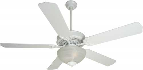 52 IN. DUAL MOUNT CEILING FAN, WHITE WITH ALABASTER BOWL LIGHT K