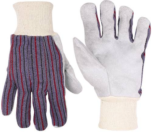 LEATHER PALM WORK GLOVES WITH KNIT WRIST
