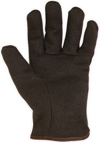FLEECE LINED BROWN JERSEY GLOVES LARGE