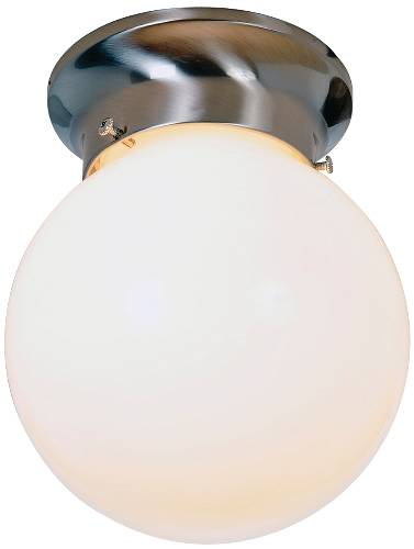 GLOBE CEILING FIXTURE WITH WHITE GLASS, MAXIMUM ONE 60 WATT INCA