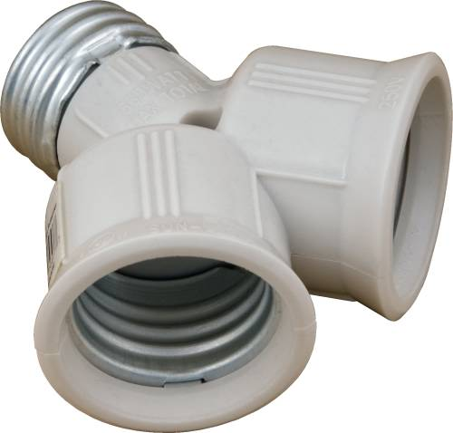 TWIN LAMP SOCKET ADAPTER IVORY
