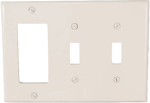 THREE GANG COMBINATION SWITCH AND DECORATOR WALLPLATE