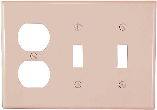 THREE GANG COMBINATION SWITCH AND DUPLEX OUTLET WALLPLATE